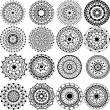 A set of beautiful mandalas and lace circles — Stok Vektör