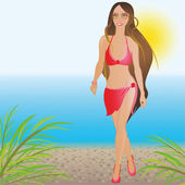 A girl in a red bathing suit on the beach — Stock Vector