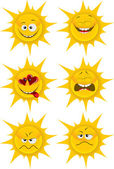 Set of sun with emotions — Stock Vector