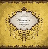 Vintage frame with crown design — Stock Vector