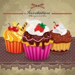 Royalty-Free Stock Vector Image: Vintage frame with cupcake set