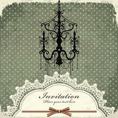 Luxury chandelier background with lace — 图库矢量图片