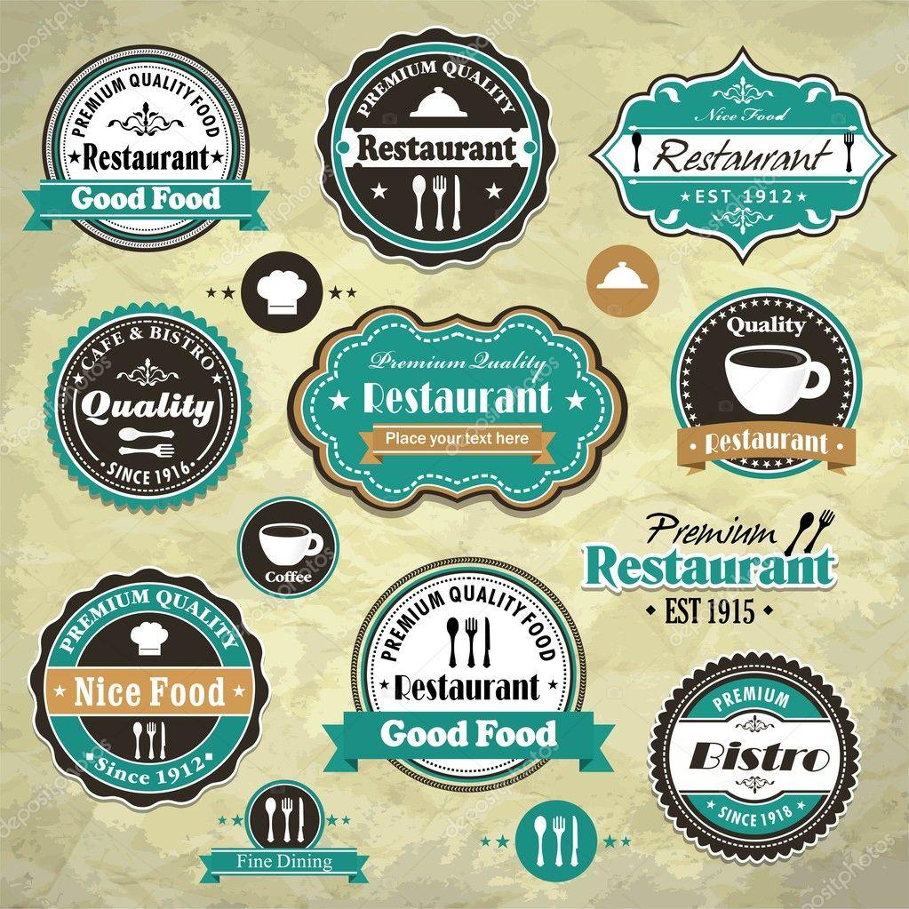 Vintage Logo Template Vintage frame with foodVintage Logo Template