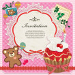 Vintage frame with cupcake & teddy bear — Imagen vectorial