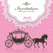 Vintage Luxury carriage invitation design — Cтоковый вектор