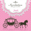 Vintage Luxury carriage invitation design - Stock Vector