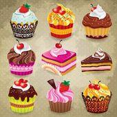 ビンテージ カップケーキ セット — ストックベクタ