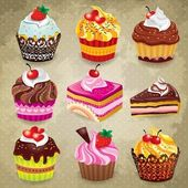 Vintage cupcake set — Vector de stock