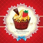 Vintage cupcake design template — Stock Vector