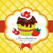 Vintage Cute cupcake invitation — Stock Vector
