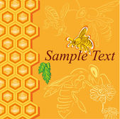 Honey background with bees — Stock Vector