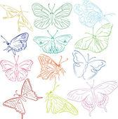 Butterflies solhouettes — Stock Vector