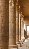 Colonnade with Egyptian carving — Stock Photo