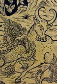 Painting of dragon and bull fighting — ストック写真