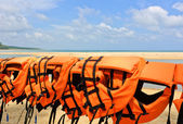 Life jackets at beach — Stok fotoğraf