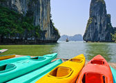 Colourful kayaks — Stock Photo