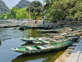 Moored rowing boats — Stock Photo