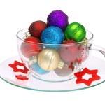 Christmas ball tea cup 01 — Stock Photo