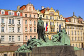 Prague Jan Hus monument 01 — Stock Photo