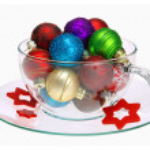Christmas ball tea cup 02 — Stock Photo