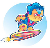 Alieno volando su skateboard aria — Vettoriale Stock