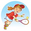 Sportive girl playing tennis — Stockvectorbeeld