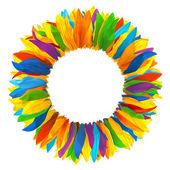 ヒマワリの色とりどりの花びらの花輪 — ストック写真