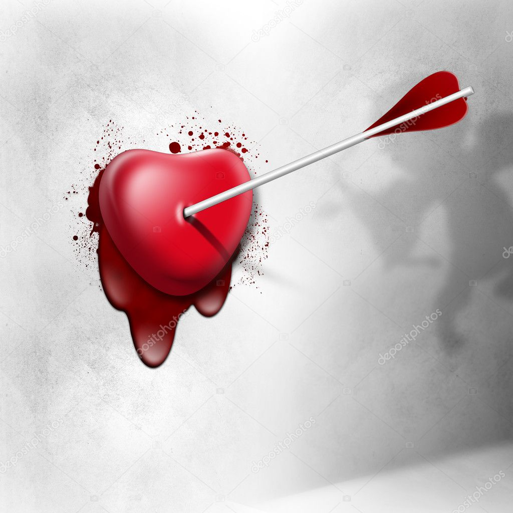 Heart struck with an arrow of the cupid — Stock Photo #11100632