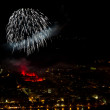 Stock Photo: Fireworks over Rhine river