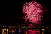 Firework in red lights — Stock Photo