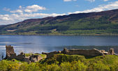 Ruins of Urquhart Castle overlooking Loch Ness — Stock Photo