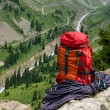 Rucksack and rope — Stock Photo