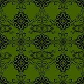Gröna blommor vintage stil tapet bakgrund — Stockvektor