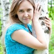 Fashion Ukrainian girl in a birch grove — Stock Photo