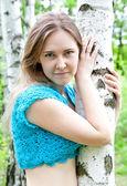 Fashion Ukrainian girl in a birch grove — Stock Photo