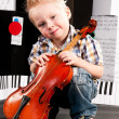 Boy with a violin — 图库照片