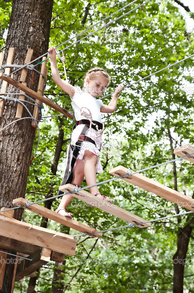 Adventure climbing high wire park — Stock Photo #11755950