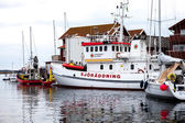 Rescue boats in small harbor — Stock Photo