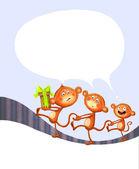 Baby animal banner. Monkey. Cartoon label. — Stock Photo