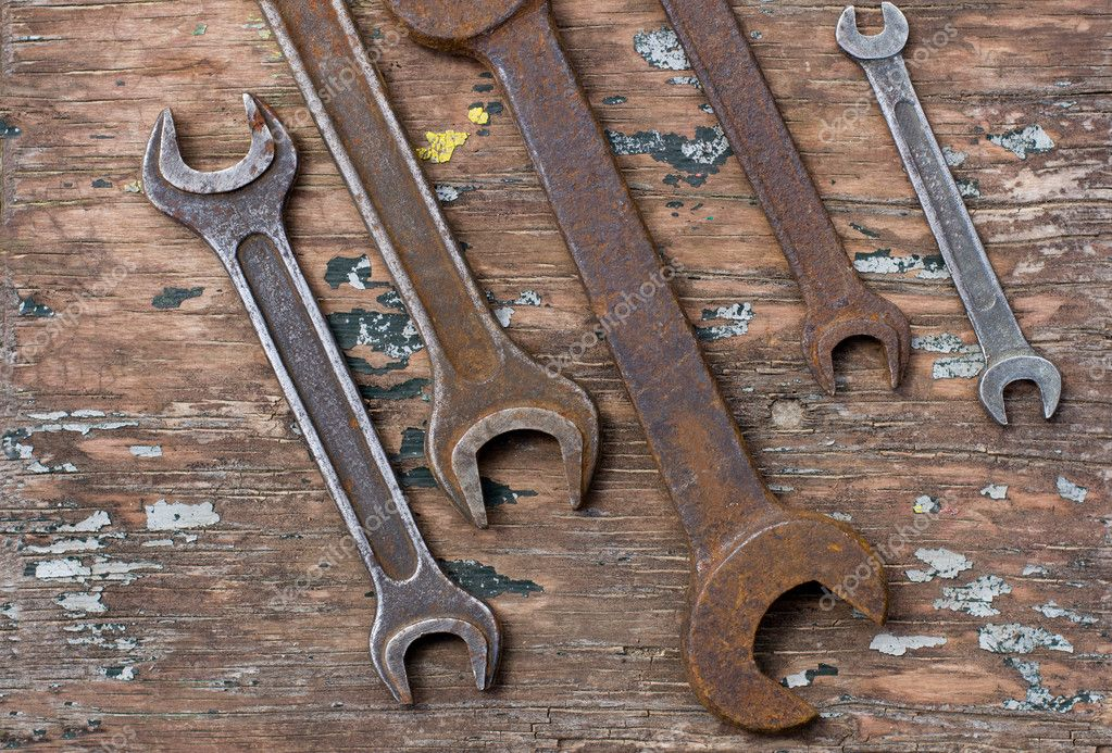 Old wrench spanners tools  Stock Photo #10979046