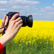 Woman photographing field — Stock Photo