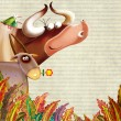 Cartoon farm animals group/farm background with animals — Stock Photo #11229478