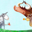 Cartoon farm animals group/farm background with animals — Stock Photo