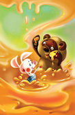 Story about vinny and his frend little pig in the honey.Fairy tale background — Stock Photo
