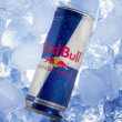 Red Bull can in Ice - Stock Photo