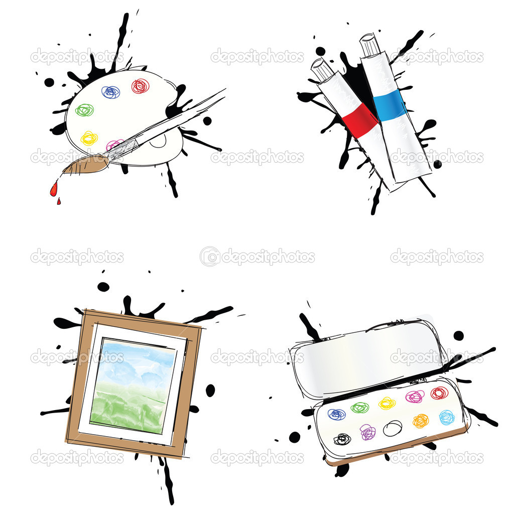 Set of 4 painting icons — Stock Vector #11068916