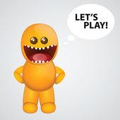Funny orange monster — Stock Vector