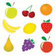 Stock Vector: Vector set of fruit stickers