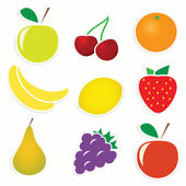 Vector set of fruit stickers — Stock Vector