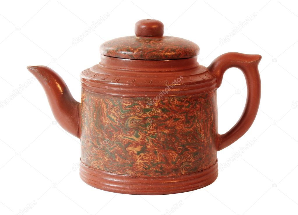 Chinese Red Ceramic Teapot Isolated on White Background — Zdjęcie stockowe #11142059